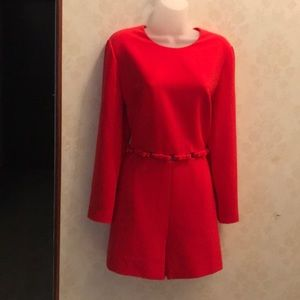 Ted Baker Shorts Romper Size 4 Red W/Open middle